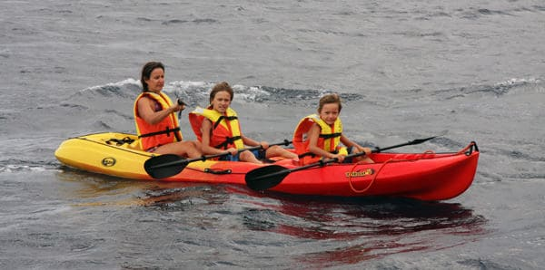 Guests from small ship cruise kayaking in Korcula, Croatia.