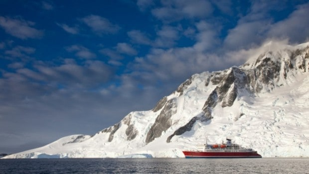 Small expedition ship in Antarctica.
