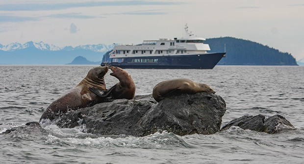 Sea lions on rocks in front of small ship in Alaska.