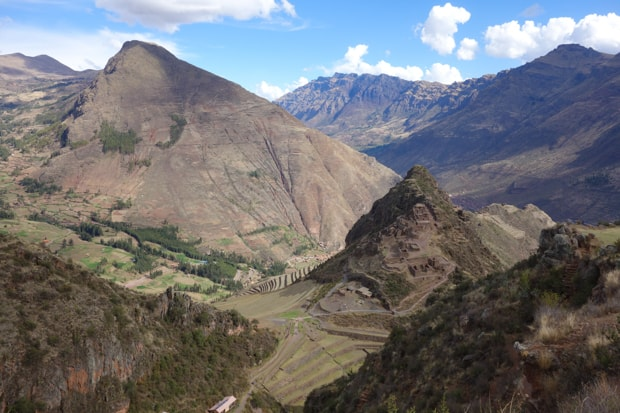 Landscaped view of stone terraces set along a hillside.