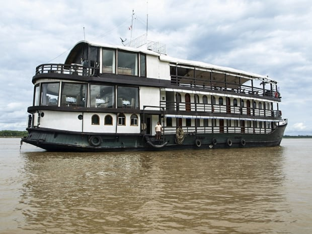 The Amatista river boat anchored in the Peruvian Amazon river.