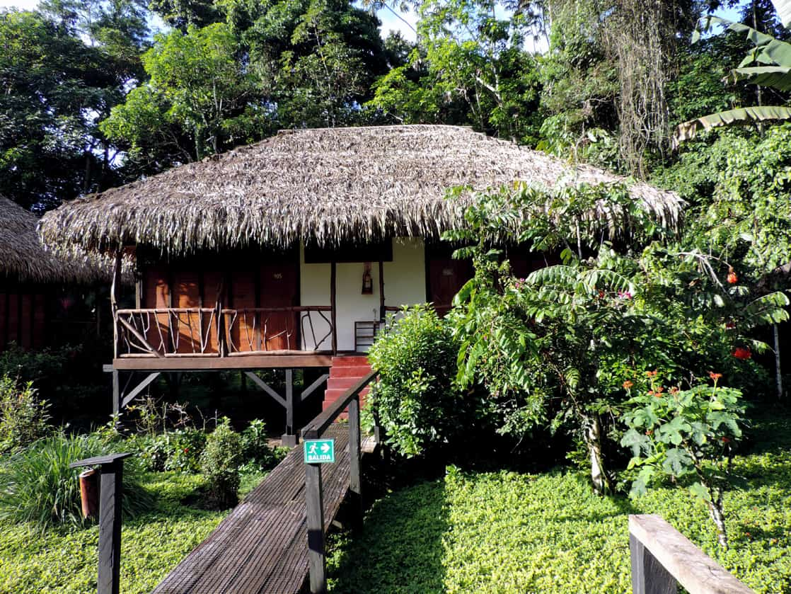 Sacha Lodge thatched roof hut nestled in the Amazon jungle.