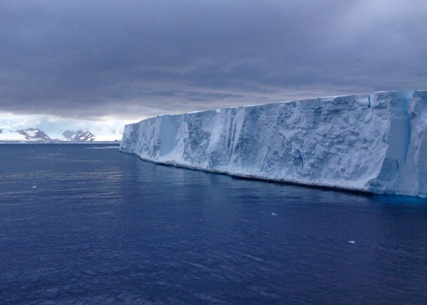 Tabular Icebergs seen from a small cruise ship in Antarctica.