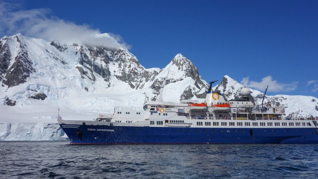 Small ship Ocean Adventurer in Antarctica.