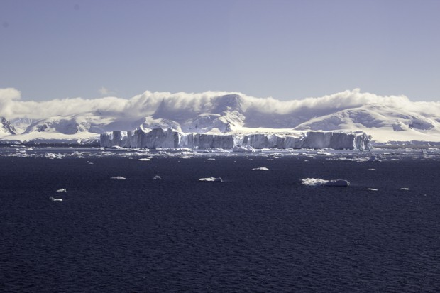 Icebergs seen from a small ship cruise approaching Antarctica.