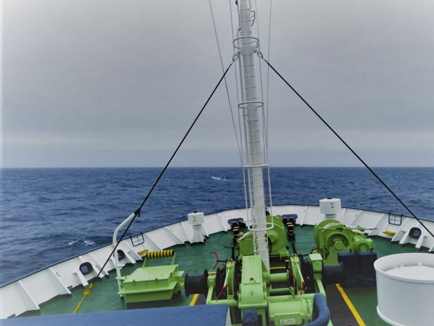 Bow of a small expedition ship crossing the Drake Passage en route to Antarctica.