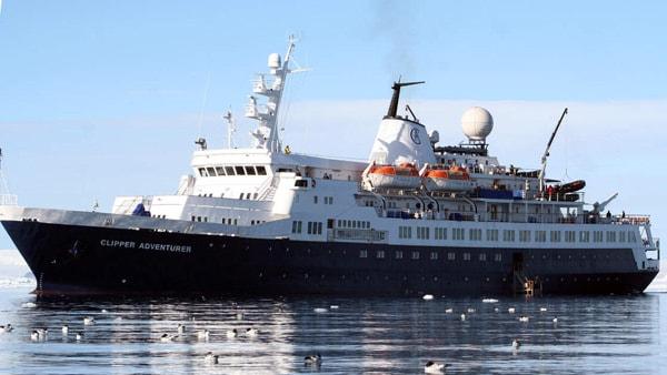 Antarctica Sea Adventurer Small Ship Charter at sea with birds