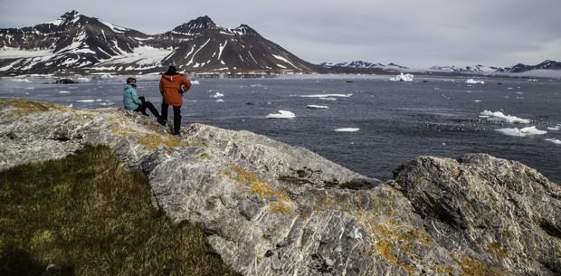 People Looking at Ocean on an Arctic Trip