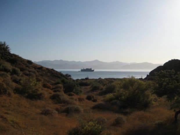 Dry desert grasslands with a small cruise ship in Baja with mountains in the background.