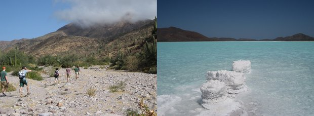 Baja travelers hiking on a beach and salt formations in the water off the coast of Baja.