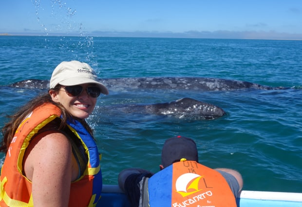 A happy couple observing 2 gray whales from the side of a panga boat.