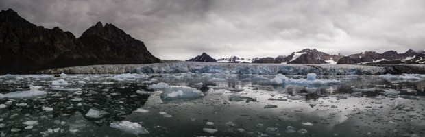 Arctic icebergs on a cloud day