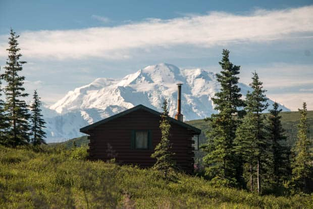 A cabin nestled in the trees with a snow covered mountain top in the distance.
