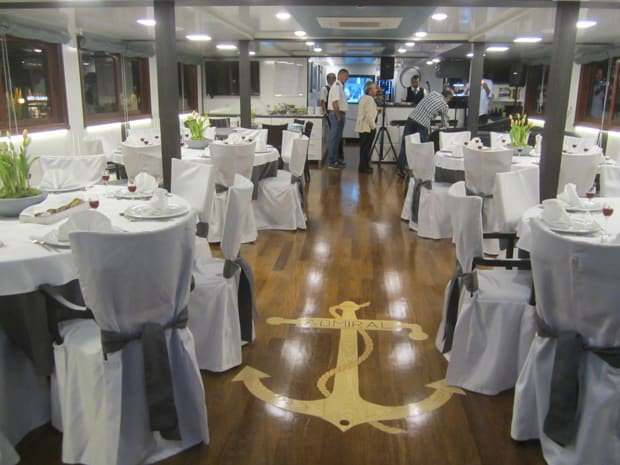 Dining room aboard the Admiral small ship.