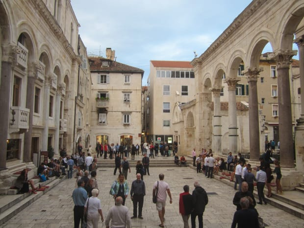 People strolling along the old town in  Split, Croatia.