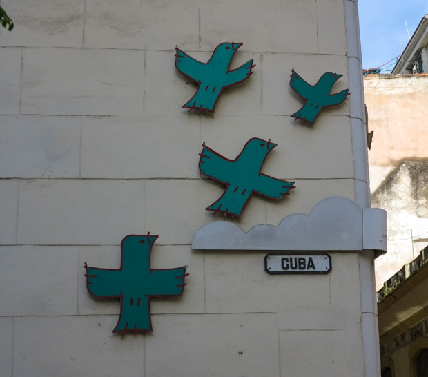 Artwork on the sides of buildings in Havana Cuba.