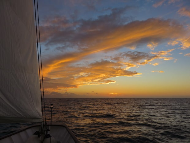Sunset from the bow of a small ship sailing in Cuba.