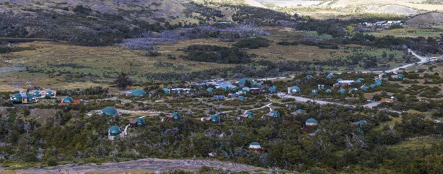 View of the domes at EcoCamp lined around the hillside at Patagonia.
