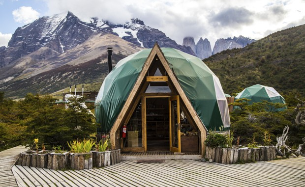 Front of a dome to the lobby at the EcoCamp Domes nestled on the hillside of Patagonia in Torres del Paine.
