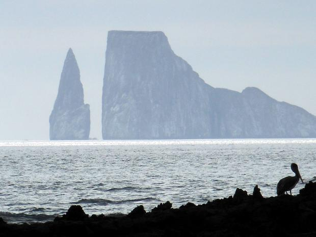 Rock tower and pinnacle from the coastline in the Galapagos.