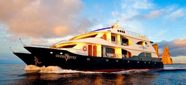 Galapagos Ocean Spray Small Yacht Charter sailing away from Kicker Rock