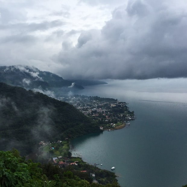 Birds eye view of Lake Atitlan and the town of Panajachel in the distance.