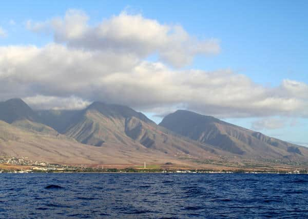 Hawaiian Islands Cruise view of mountains and small beach town
