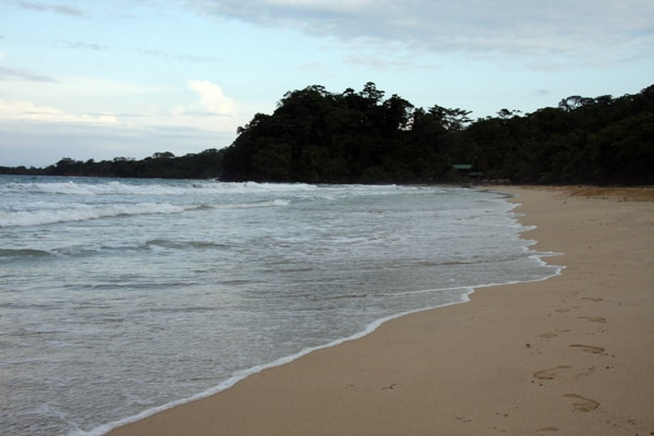 Sandy beach at a lagoon in Panama.