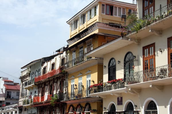 Colorful colonial buildings in old town Panama.