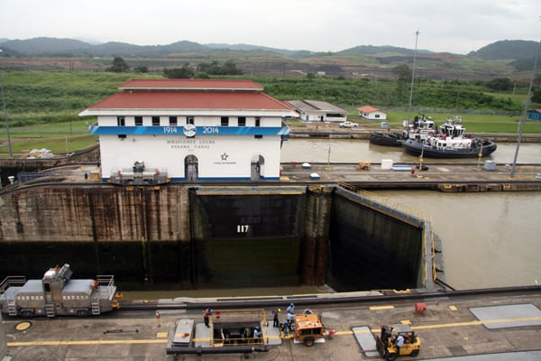 Miraflores Locks seen from a small ship going through the Panama Canal.