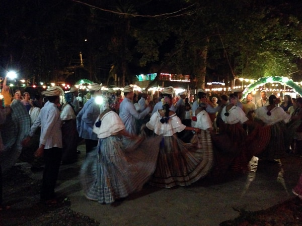 Local dancers performing in the courtyard in Bocas town.