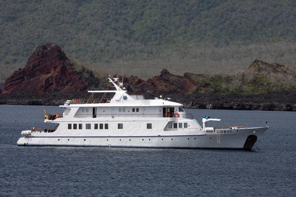 Coral I anchored off the coast of a Galapagos Island.