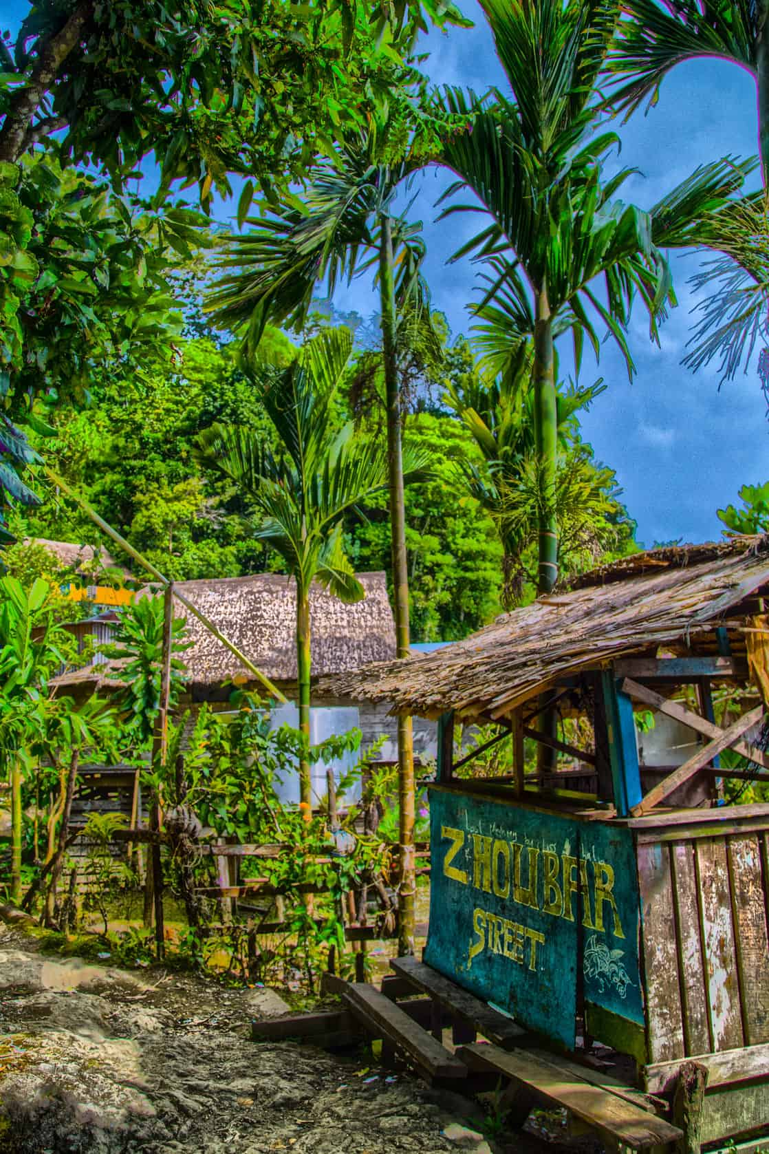 Small shack in a community on an island in the south pacific.