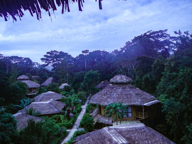 View looking down into the jungle and thatched roofed huts at La Selva Lodge.