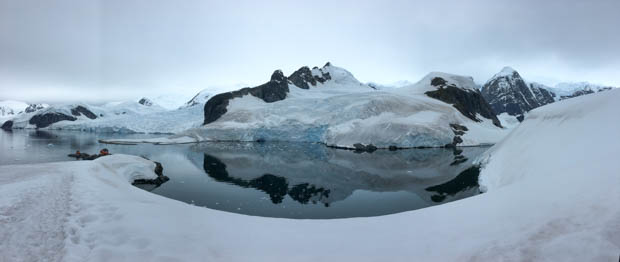 View on a hiking excursion from a small ship in Antarctica.