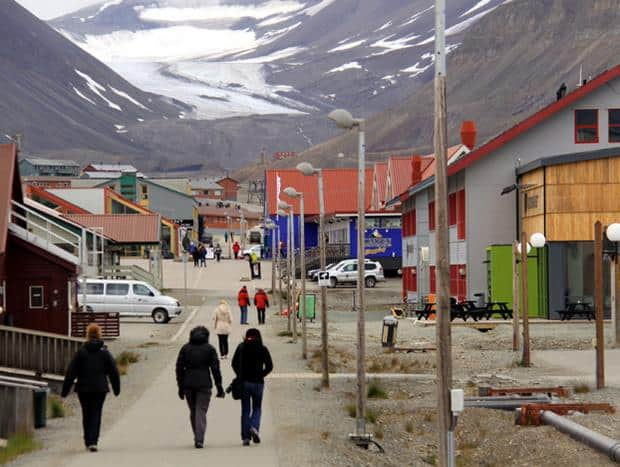 The town of Longyearbyen with people walking on a sidewalk.