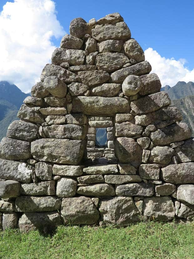 Stone ruin of the remains of a house in Machu Picchu.