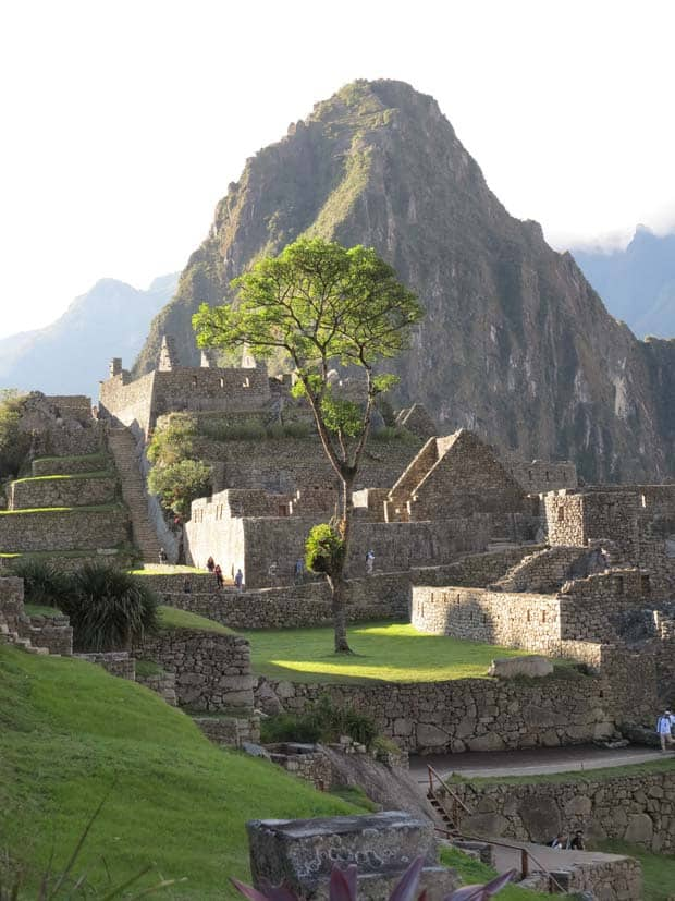 View of ancient stone ruins of Machu Pichu with a towering mountain peack in the background.