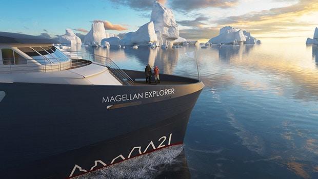 Magellan Explorer small ship rendering in Antarctica