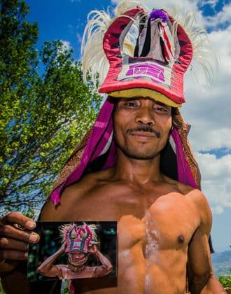 Local Indonesian man wearing a headress.
