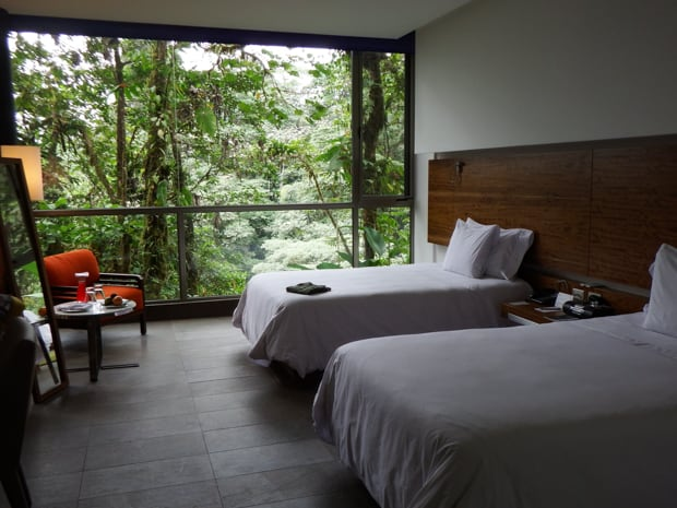 Room with 2 beds, floor to ceiling windows, table and chair and a view of the rainforest outside.