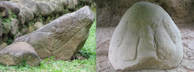 Mayan stone carved  head of a crocodile and stone carving