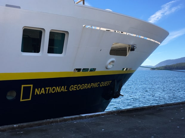 Bow close-up of National Geographic Quest small ship at the dock in Juneau Alaska