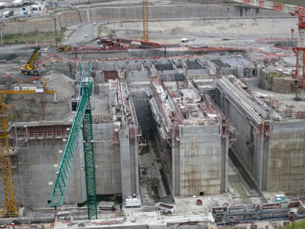 The construction work on the new larger channel and locks being built in the Panama Canal.