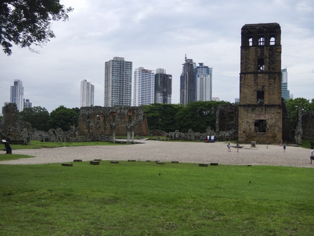 Ruins in old town Panama with the modern city skyline behind.