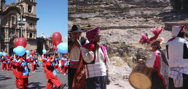 Small children in red and blue costumes holding red and blue balloons marching in front of a cathedral and 4 traditionally dressed men playing intruments next to a rock wall.