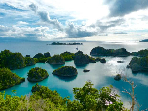 View from a hike in Raja Ampat with a small ship in the distance.