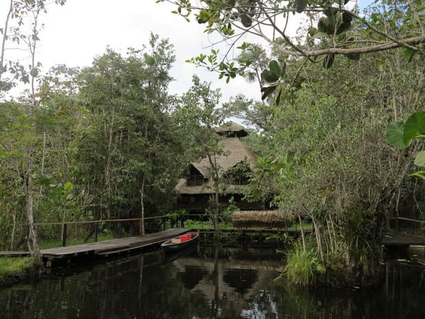 A view of Sacha Lodge from the water in the Ecuadorian Amazon jungle.