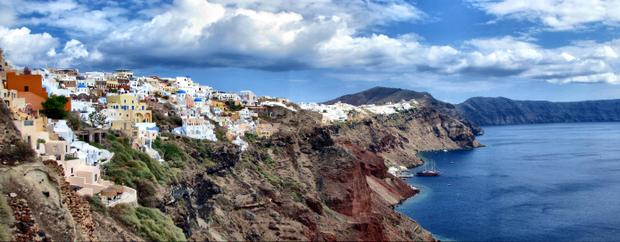 View of Oia and Santorini from a small ship cruise excursion in Greece.