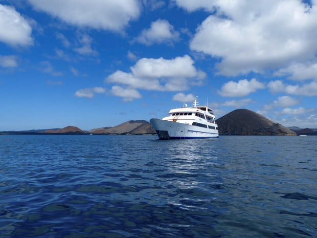 The Sea Star small ship cruise anchored off the coast of the Galapagos islands.